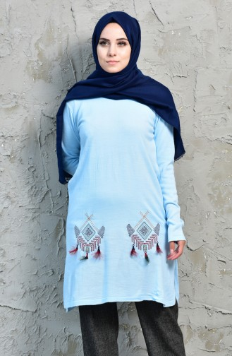 VMODA Knitwear Embroidered Sweater 9221-03 Baby Blue 9221-03