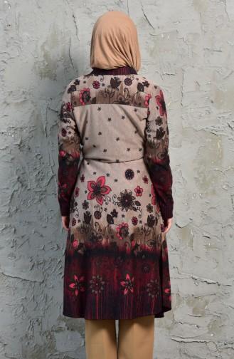 Patterned Lace-up Tunic 1075-01 Mink Bordeaux 1075-01