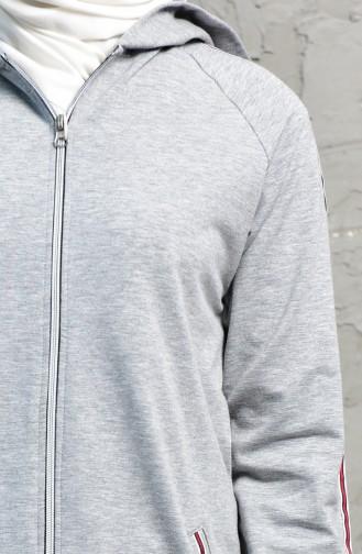 بدلة رياضية بتصميم سحاب 5001-01 لون رمادي واسود 5001-01