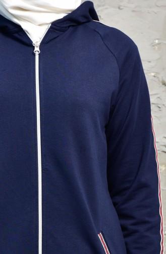 بدلة رياضية بتصميم سحاب 5002-02 لون كحلي واحمر 5002-02