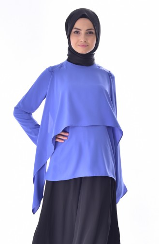 Allerli Şifon Bluz 61037-01 Mavi 61037-01