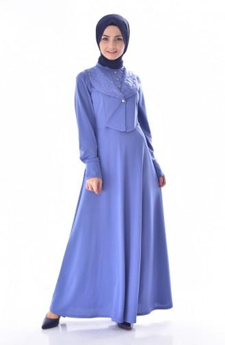 فستان مُزين بتفاصيل من اللؤلؤ 1867-02 لون ازرق 1867-02