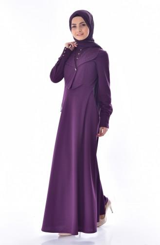 فستان مُزين بتفاصيل من اللؤلؤ 1867-07 لون بنفسجي 1867-07