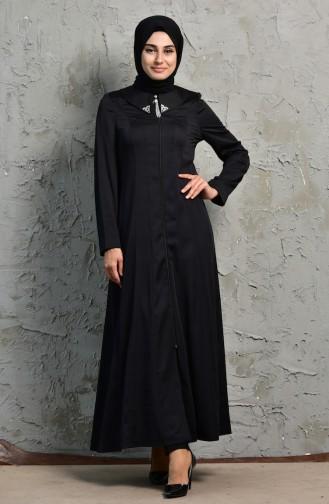 معطف طويل بتصميم سحاب 1064-02 لون اسود 1064-02