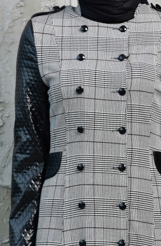 Leather Garnish Plaid Overcoat 1086-01 Black 1086-01