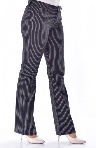 وايت بيرد بنطال ليكرا بتصميم مُخطط 8870-01 لون أسود 8870-01