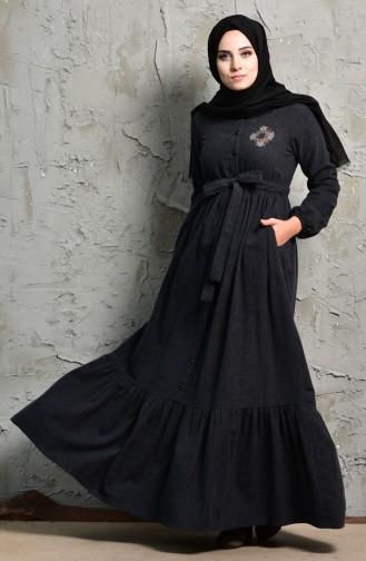 Taş Detaylı Elbise 2030-05 Siyah 2030-05