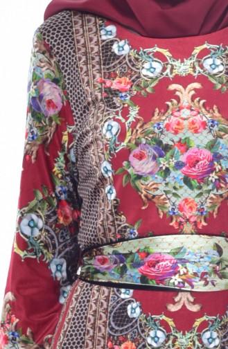 فستان بتصميم مُطبع وحزام للخصر 24404-04 لون خمري 24404-04