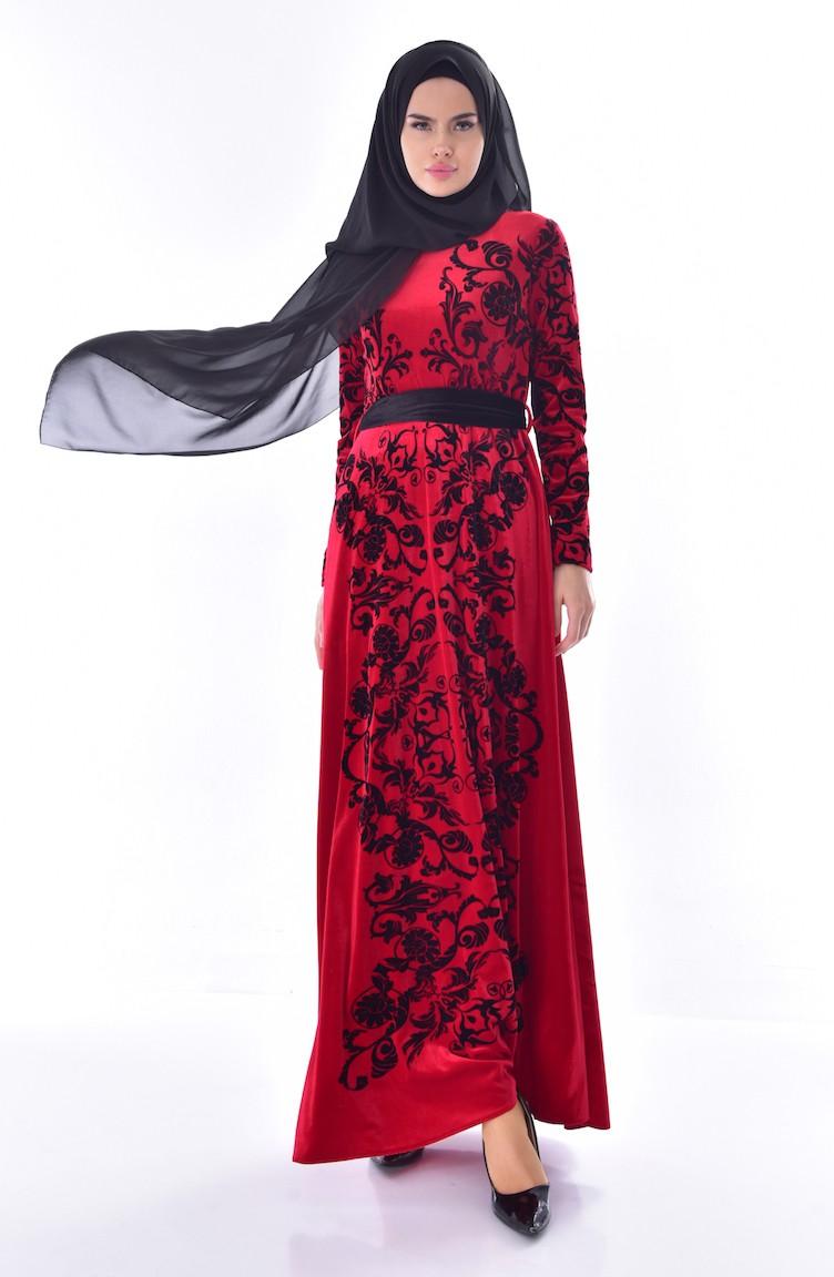 944ca7e55831b Desenli Kuşaklı Kadife Elbise 24542-02 Bordo