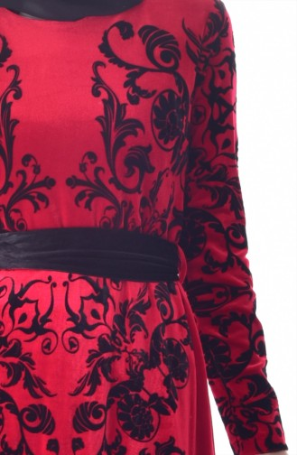 Robe Velours a Motifs et Ceinture 24542-02 Bordeaux 24542-02