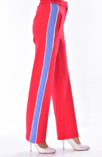 Pocket Detailed Straight Trousers 1616-03 Red 1616-03