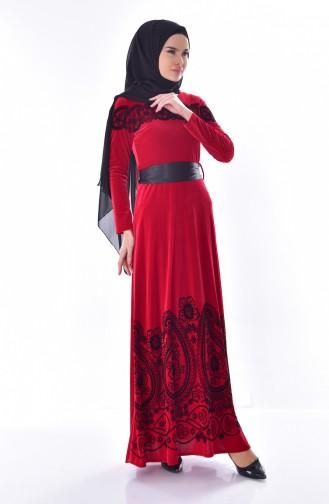 Desenli Kuşaklı Kadife Elbise 7708-03 Kırmızı 7708-03