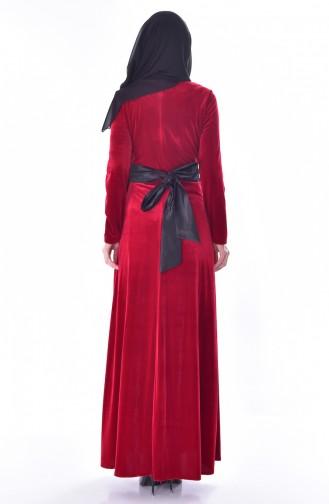 Nakışlı Kuşaklı Kadife Elbise 7725-02 Kırmızı 7725-02
