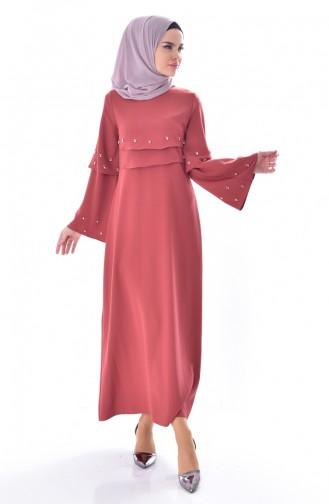 Taş Detaylı Allerli Elbise 0874-01 Koyu Gül Kurusu