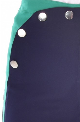 Pantalon Large a Boutons 1632-04 Bleu Marine 1632-04