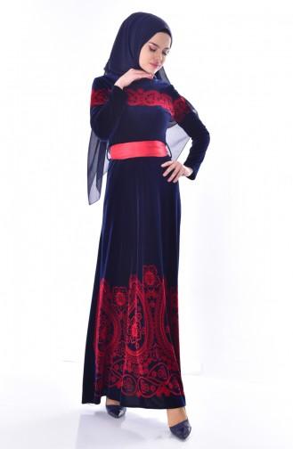 Desenli Kuşaklı Kadife Elbise 7708-05 Lacivert 7708-05