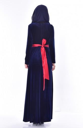 فستان بتفاصيل مُطرزة وحزام للخصر 7725-01 لون كحلي 7725-01
