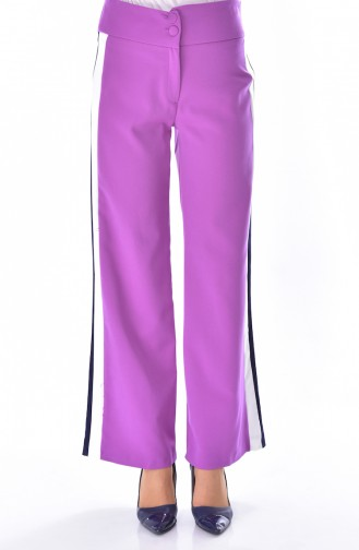 Striped Wide leg Trousers 1586-01 Lilac 1586-01