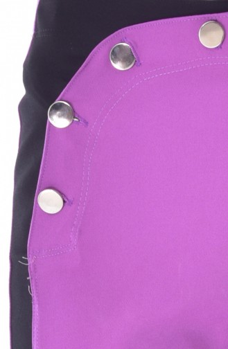 Pantalon Large a Boutons 1632-08 Lila 1632-08