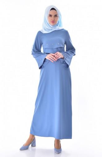 Taş Detaylı Allerli Elbise 0874-03 Mavi
