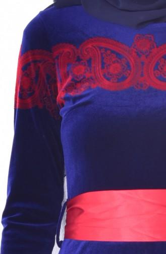 فستان بتصميم مُطبع وحزام للخصر 7708-04 لون ازرق 7708-04