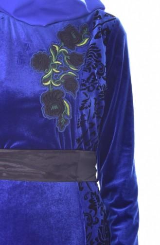 فستان بتفاصيل مُطرزة وحزام للخصر 7725-03 لون ازرق 7725-03