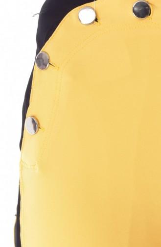 Düğmeli Bol Paça Pantolon 1632-07 Sarı