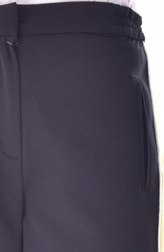 Cep Detaylı Düz Paça Pantolon 1616-04 Siyah Sarı 1616-04
