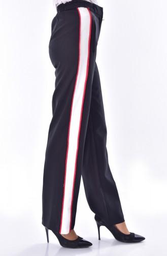 Pantalon Simple Détail Poches 1616-01 Noir 1616-01
