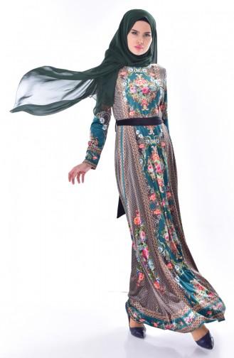 Desenli Kuşaklı Kadife Elbise 24404-03 Zümrüt Yeşili 24404-03