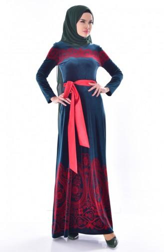 فستان بتصميم مُطبع وحزام للخصر 7708-01 لون اخضر زُمردي 7708-01