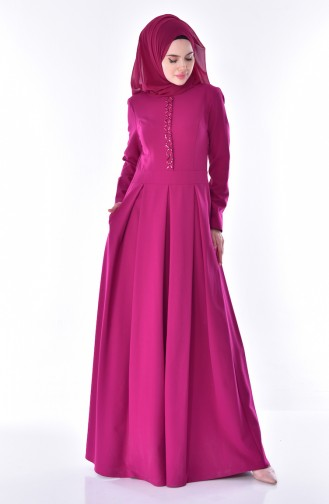 Stony Pleated Dress 24058-02 Fuchsia 24058-02