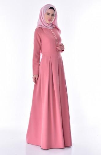 Taşlı Pileli Elbise 24058-01 Gül Kurusu 24058-01