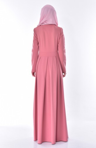 فستان بتصميم طيات مُزين باحجار لامعة 24058-01 لون وردي باهت 24058-01