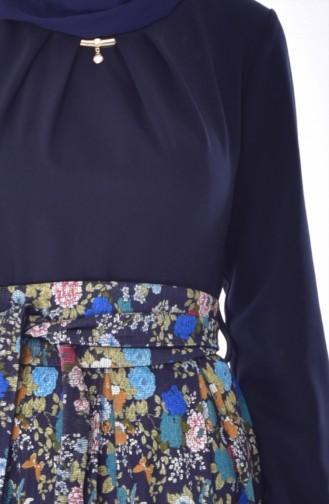 Robe a Motifs et Ceinture 23094-01 Bleu Marine 23094-01
