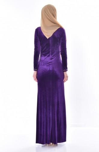 فستان مخمل مُزين بأحجار لامعة 28208-02 لون بنفسجي 28208-02