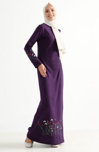 TUBANUR Flower Embroidered Two Yarn Dress 2980-07 Purple 2980-07