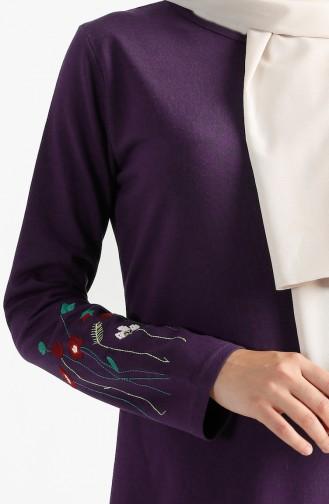 توبانور فستان مُحاك بتفاصيل مُطرزة 2980-07 لون بنفسجي 2980-07