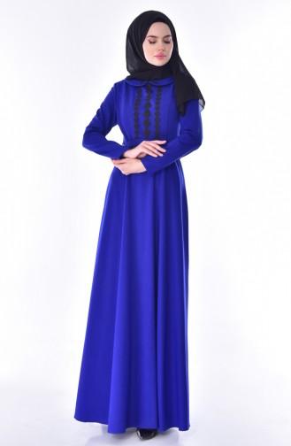 فستان بحزام خصر بتصميم ياقة مثنية 24402-02 لون أزرق 24402-02