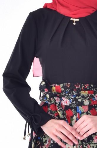Desenli Kuşaklı Elbise 23094-04 Siyah 23094-04