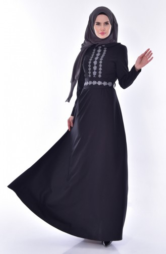 Baby Collar Belted Dress 24402A-01 Black 24402A-01