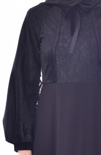 Dantelli Elbise 28368-01 Siyah 28368-01