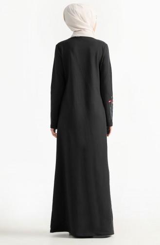 Robe Bordée de Fleurs 2980-09 Noir 2980-09