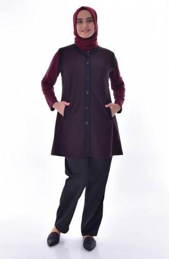 Large Size Pocket Vest 1509-05 Claret Red 1509-05