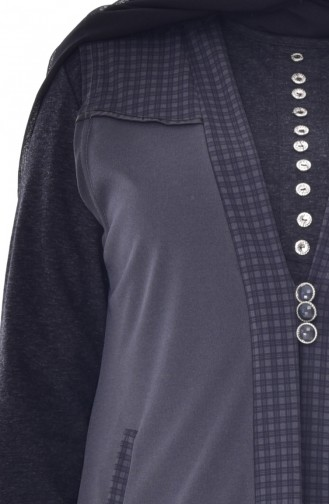 Gilet a Boutons Grande Taille 4758-03 Fumé 4758-03