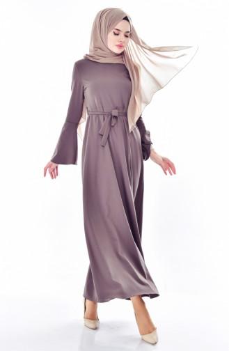Kolu Volanlı Kuşaklı Elbise 4495-02 Haki