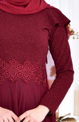 فستان سهرة بتفاصيل لامعة ودانتيل 2585-01 لون خمري 2585-01