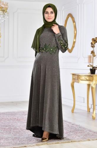 Robe de Soirée Perlées 6100-01 Khaki 6100-01