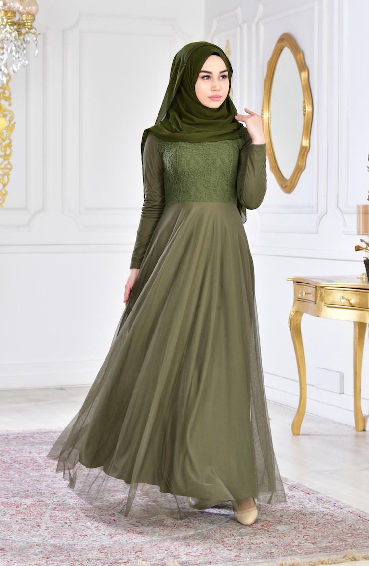 e75d1479c فستان سهرة شيفون بتفاصيل من الدانتيل 3456-06 لون اخضر كاكي 3456-06
