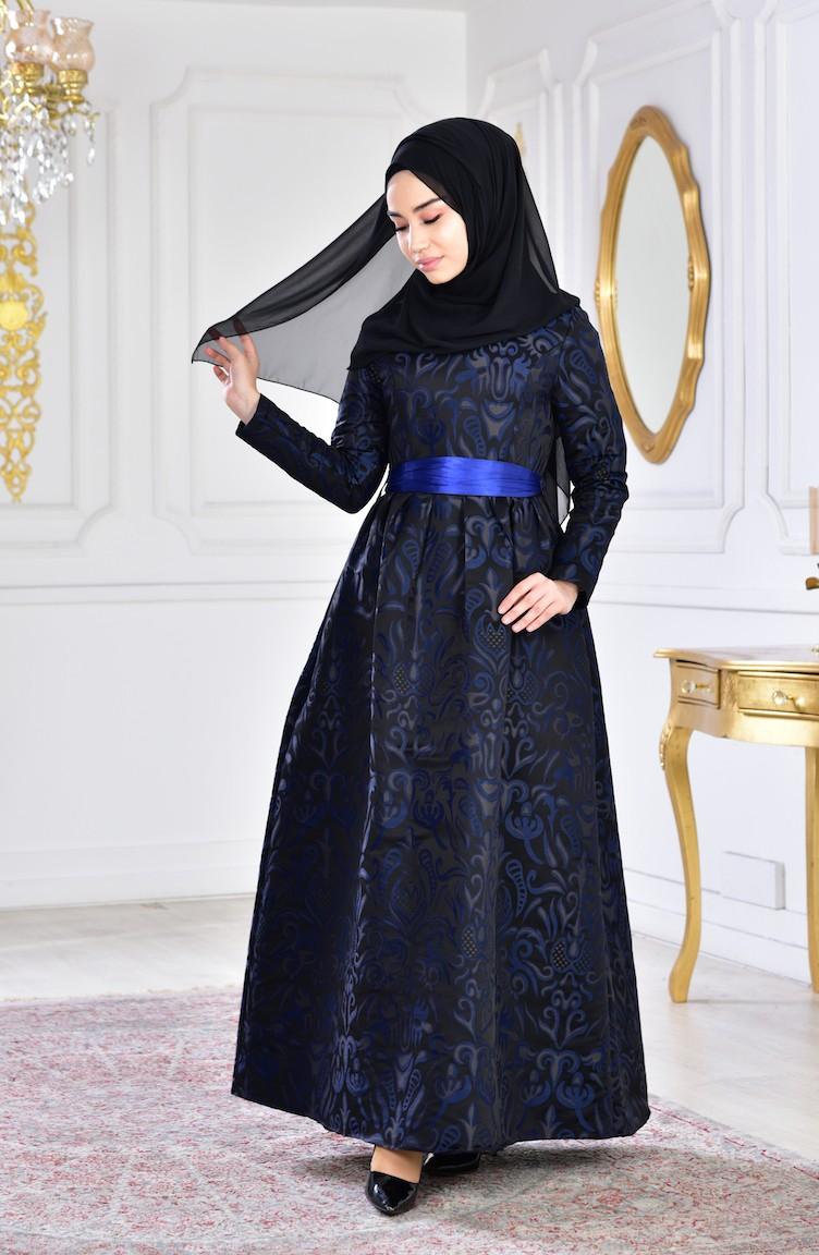 Blue Taffeta Dress